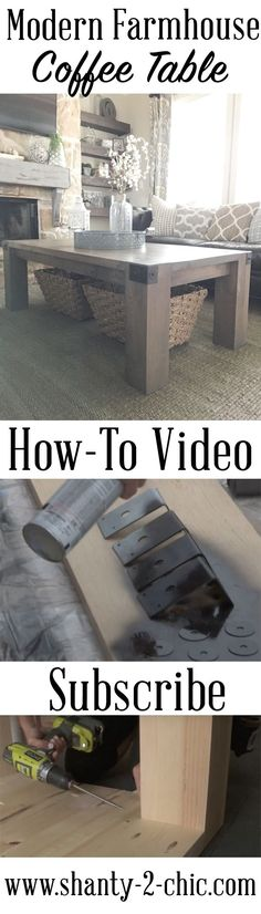 This is such a simple build, 9 boards and 4 table legs! Love this farmhouse coffee table with a modern spin! Find the free plans and how-to video at www.shanty-2-chic.com