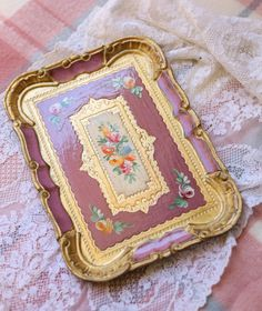 Rococo, Baroque, Royal Tea, Gold Wood, Tole Painting, Purple Roses, Unique Furniture, Teacup, Utensils