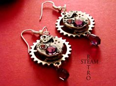 FREE SHIPPING USA Vintage watch movement Amethyst Swarovski Steampunk Earrings - Steampunk Jewelry
