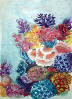 Original Beach Painting by Ivana Knezevic Coral Reef Drawing, Coral Painting, Coral Watercolor, Watercolor Paintings, Coral Reef Craft, Ivana, Underwater Painting, Coral Art, Conceptual Art