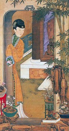 """十二美人圖。雍親王題書堂深居圖屏『倚門觀竹』,1709-1723。""""The Twelve Beauties,"""" """"Twelve Concubines of the Emperor Yongzheng""""#2"""