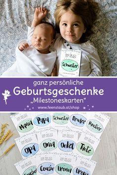 """""""Willkommen"""" bei uns! So schafft ihr eine tolle Erinnerung für das ganze Leben eures Babys: Milestones Karten. Sie helfen dir die ersten großen Schritte deines Babys festzuhalten und mit deiner Familie und deinen Freunden zu teilen. Auch eine tolle Geschenk Idee zur Geburt von Mädchen  und Jungen. #feenstaub #geschenkzurgeburt #Geschenkidee #willkommen #erinnerungen Babys, Meme, Time Capsule, Amazing Gifts, Babies, Memes, Newborns, Baby Baby, Infants"""