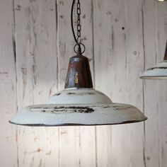 Enamel Urban Pendant Light in distressed white finish with an adjustable chain. The ultimate in Industrial Vintage Chic. Vintage Pendant Lighting, Industrial Pendant Lights, Kitchen Pendant Lighting, Kitchen Pendants, Pendant Lamps, Shimla, Vintage Industrial, Industrial Style, Urban Industrial
