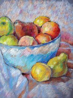 New Ideas Fruit Bowl Drawing Pencil Fruit Bowl Drawing, Fruits Drawing, Soft Pastel Art, Pastel Drawing, Chalk Drawings, Art Drawings, Pastel Crayons, Still Life Drawing, Chalk Pastels
