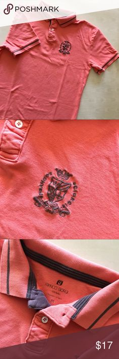 Franco Giorgio Polo Shirt Orange short sleeve Polo shirt by Franco Giorgio. Size M. Exact measurements shown in pictures. Embroidered monogram. Button up with collar. Used but in good condition. Franco Giorgio Shirts Polos