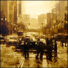 Composition 44 by Jeremy Mann - Oil on Panel - 47 x 47 in.