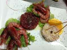 Il misto di pesce crudo! Tartare di Ricciola, Tartare di Tonno e Gamberoni Marinati