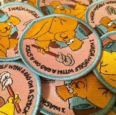 """""""FAT BART"""" patch by Applesauce Industries. the simpsons. i wash myself with a rag on a stick. $9.50"""