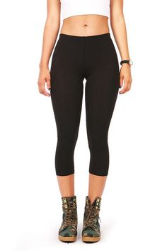 Basic cotton leggings in a cropped capri length. *Machine Wash Cold Cotton Spandex Top to Bottom Inseam *Imported Basic Leggings, Cotton Leggings, Cotton Pants, Women's Leggings, Black Leggings, Black Pants, Leggings Are Not Pants, Cotton Spandex, Pink Trousers