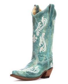 Corral Women's Turquoise Cortez/Cream Fleur de Lis Boot - R1973