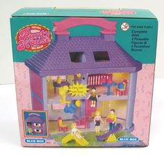 Blue Box Dream House 52029 Portable Dollhouse W Dolls Furniture 90s Lighted  | EBay Party House