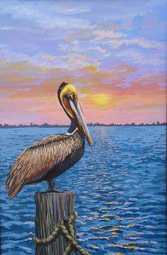 Original Brown Pelican Sunrise Painting, Seabird Painting,  Wall Art, Beach Decor by PatMcWhorter
