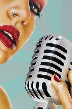 1 Note by Scott Rohlfs - vintage microphone, music Pinup, Digital Portrait, Portrait Art, Digital Art, Estilo Rock, Airbrush Art, Dope Art, Arte Pop, Retro Art