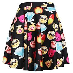 Smartland Women Girls Printed Stretchy Flared Pleated Mini Skater Skirt (Emoji 3) -- Check this awesome product by going to the link at the image.