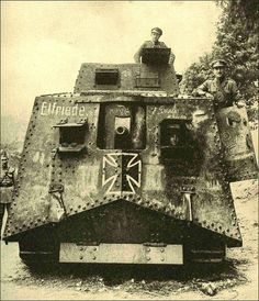 This tank was captured at the battle of Villers-Bretonneux in 1918. Pictured here with British soldiers.