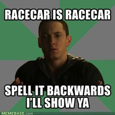 Am I the only one who just noticed that racecar is racecar spelled backwards?