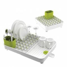 Brand: Joseph Joseph Dimensions: Closed 32 x 36.4 x 16.1 cm/Extended 52.7 x 36.4 x 16.1 cm Material: Plastic/Steel Care instructions: Hand wash only Colour: White/Green Extends to double its size Integrated drainage spout that rotates to trap water Moveable cutlery holder Non scratch tips Plated steel prongs Suitable for all types of glassware and crockery Can easily be extended to create additional draining space Non slip feet Removable steel rack