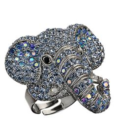 If you're superstitious you may sport this crystal elephant ring from Andrew Hamilton Crawford for good luck. If not, you'll wear it just because of how fabulous it is. The large silver plated cocktail ring is perfection as it drips with glimmering crystals.    Metal: Silver plated  Stone: Crystal  Band width: 1/4 inch  Ring top dimensions: L 1 1/2 inches x W 1 1/4 inches x H 7/8 inch