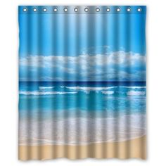 "60""(w) x 72""(h) Tropical Paradise Beach Scene with the Sea Pattern 100% Polyester Bathroom Shower Curtain Shower Rings Included"