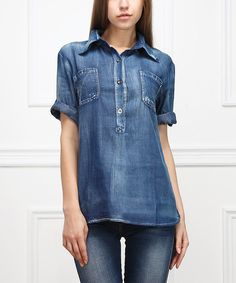 Look at this Medium Blue Chambray Denim Button-Front Top - Women on #zulily today!