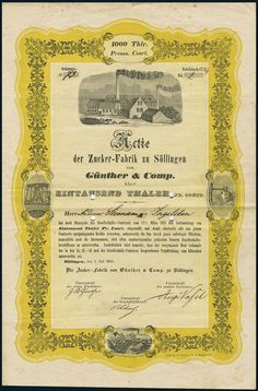 Zuckerfabrik zu Söllingen von Günther & Comp. Aktie über 1.000 Thaler, Söllingen, 1.Juli 1851