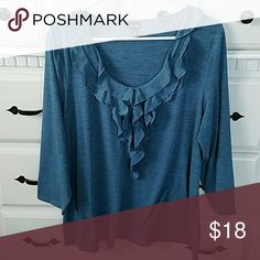 3/4 sleeve ruffled top Soft ruffled blue top by Rafaella Rafaella Tops Blouses