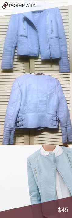 Sz SM Baby Blue faux leather jacket from ZARA. Size SMALL Baby Blue faux leather jacket with silver zippers from ZARA. Jacket is collarless with quilted lower sleeves and belt detailing on the back. The jacket has some weight to it and even though it is a 'summery' color, it's best worn in Fall/Winter.   Originally $120 selling for $45, final sale. Third picture is the true color of the jacket. MESSAGE first before buying please. Zara Jackets & Coats Utility Jackets