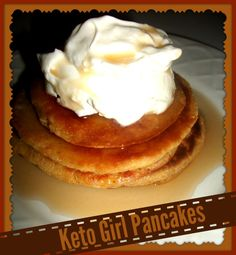Keto Girl Pancakes - Basic Ingredients:  4 eggs, 1 cup of almond flour or meal, 1 brick of cream cheese, ...You can make these pancakes with just these ingredients. However, I add a little more to them to make them tastier.  Full ingredient list:  4 eggs, 1 cup almond meal/flour, 1 brick cream cheese, 1 TBS vanilla, 1 Tbs Butter, 1 tsp cinnamon  Directions:  Blend all with blender, rest one minute, fry up like regular pancakes.