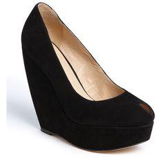 ALDO 'Abrego' Platform Wedge Pump ($55) ❤ liked on Polyvore featuring shoes, pumps, wedges, black, heels, wedge pumps, black wedge pumps, black high heel shoes, black heeled shoes and wedge heel shoes