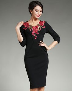#VIPme Black Embroidery Hollow Sexy Sheath Dress ❤️ Get more outfit ideas and style inspiration from fashion designers at VIPme.com.