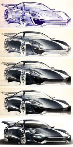 porsche rendering process in photoshop. Design by P. Car Design Sketch, Car Sketch, Photoshop Rendering, Photoshop Design, Automobile, Conceptual Drawing, Industrial Design Sketch, Car Drawings, Technical Drawing