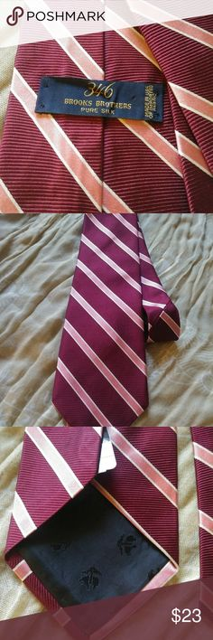"Brook's Brothers ""346"" 100% silk Men's Tie Brook's Brothers ""346"" men's, 100% silk tie. Dark red, wine, colored with pink stripes. Amazing condition.  $23 O.B.O. Brooks Brothers Accessories Ties"