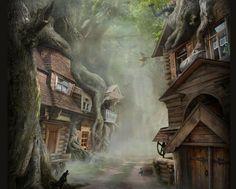 cityscapes forest fantasy art artwork village village girl 1060x850 wallpaper www wall321 com 54 jpg 800×641 Fantasy village Fantasy landscape Fantasy art