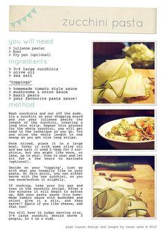 Paleo Recipe. food // zucchini pasta recipe print out!