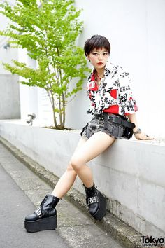 Kaoru in Harajuku w/ Kanji Top, Hellcatpunks Bag & Glad News Boots. Kaoru is the designer of the indie Japanese brand S.Kaoru, and a Kera Magazine reader model.