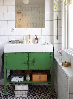 Love the vintage metal vanity with the bright colour | Bathroom ideas