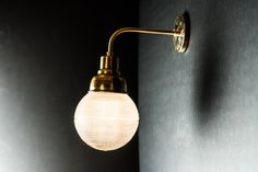 Vintage Holophane Glass and Brass Wall Light