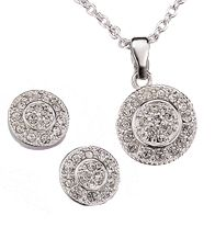 "Pave Circle Necklace and Earring Gift Set - Rhinestones set in silvertone. Necklace, 16 1/2"" L with 3 1/2"" extender. Pierced earrings. Regularly $19.99, buy Avon jewelry online at http://eseagren.avonrepresentative.com"