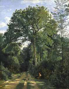"""Jean-Baptiste-Camille Corot, Ville-d'Avray: Entrance to the Wood, c. 1825 From the National Galleries of Scotland: """" The fresh colour and deftly observed play of light and shadow on the rutted track. Cool Landscapes, Landscape Paintings, Fine Art, Art Appreciation, French Art, Barbizon School, Painting, French Artists, Landscape Art"""
