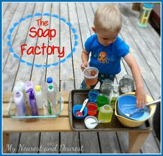Liquid Soap Making Pretend Play Activity. Great way to use up any soaps, lotions, and body washes that have been sitting in your cupboard.