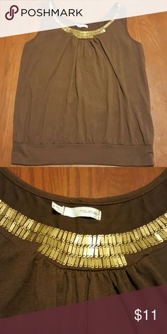 Maurices brown tank top with waistband Metal finish neckline, this is great for layering and the band at the waist is very slimming. Maurices Tops Tank Tops