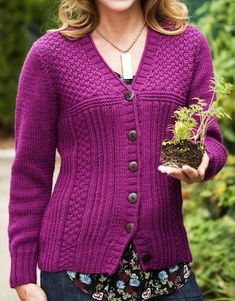 Free Knitting Pattern for Drift Cardigan - Classic long-sleeved cardigan by Norah Gaughan features gansey stitch patterns in flattering lines. Sizes XS-2X