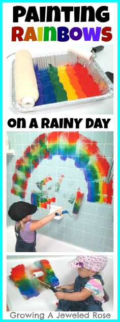 Painting Rainbows- fantastic fun on a rainy day and great for St. Patrick's Day too! Kept my kids busy for over an hour!