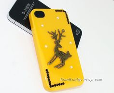 Deer Iphone case,studded iphone 4 case,studded iphone 5 case,Ancient Bronze iphone case,yellow Hard Cover Iphone 4&5 Case