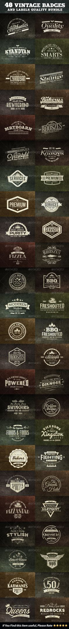 48 Vintage Badges and Labels Bundle Template | Buy and Download: http://graphicriver.net/item/48-vintage-badges-and-labels-bundle/7094167?WT.ac=category_thumb&WT.z_author=emotions76&ref=ksioks