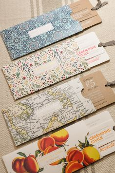 Letterpress wedding invitation on cotton or recycled paper, with a hotfoiled themed pocket : vintage map, summer fruits, floral or Andalusian pattern Letterpress Wedding Invitations, Vintage Wedding Invitations, Wedding Stationery, Original Wedding Invitations, Wedding Envelopes, Vintage Weddings, Letterpress Printing, Stationery Design, Wedding Cards