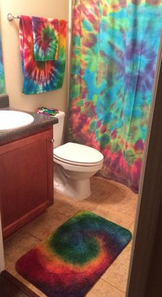 Where has this been all my life?!?!? TIEDYE BATHROOM SET Rainbow Swirl Shower Curtain by COMScreations