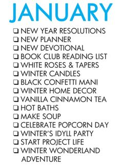 Paper & Glam - January Bucket List