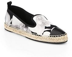 Fendi Junia Orchid Print Satin Espadrille Flats, A timeless espadrille is decorated in orchid-printed, smooth satin with leather cap toe and textured rope edging.;Orchid-printed satin upper;Leather cap toe;Grosgrain trim;Rubber sole with textured rope edging;Padded insole;Made in Italy.