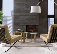 """Porcelanosa Aston Antracita on Fireplace. Can be used on floor. Great dimensions of widths  2"""", 4"""" and 6"""" by 23"""" long."""